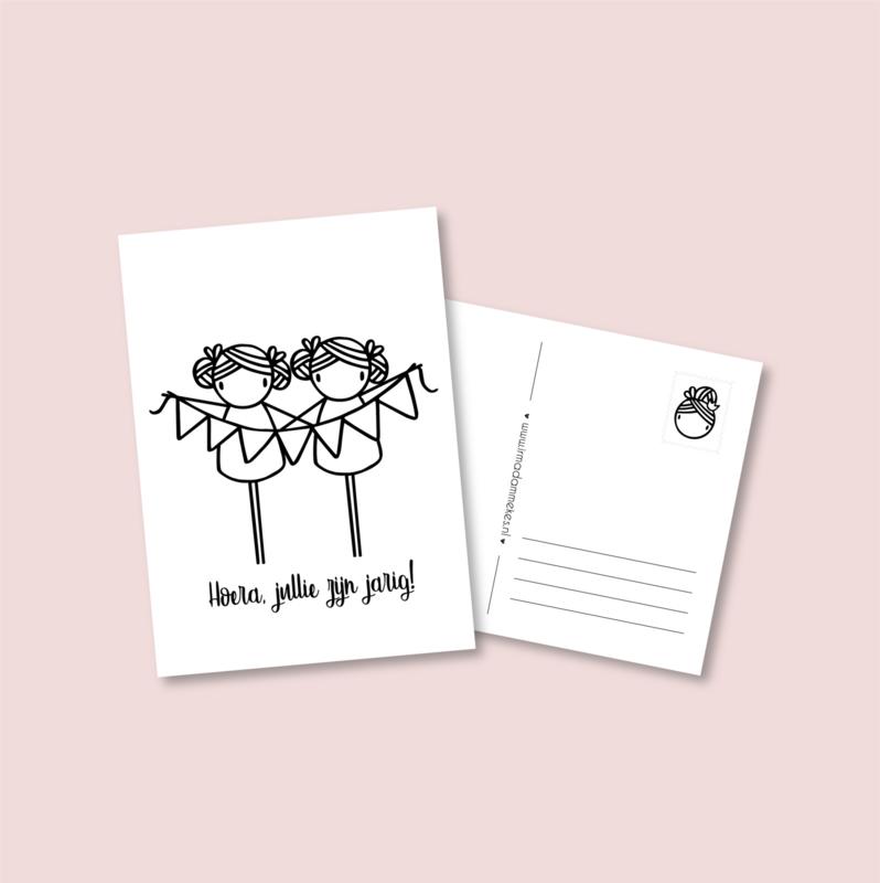 Postkaart - Jarige tweeling meisjes
