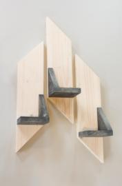 3 houten wandborden