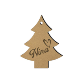 Houten kerstboom hanger met naam