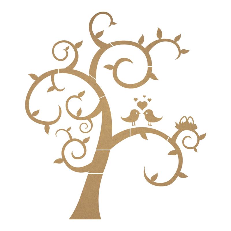 MDF boom met vogels