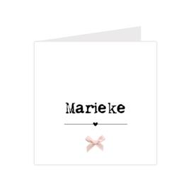 Klassiek geboortekaartje met geprint strikje roze