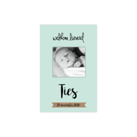 Geboortekaartje met eigen foto mintgroen