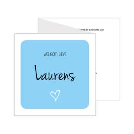 Lief zigzag geboortekaartje met eigen foto lichtblauw