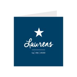 Stoer geboortekaartje met ster blauw