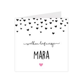 Geboortekaartje met hartjes roze