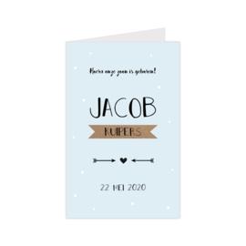 Lief geboortekaartje met confetti blauw