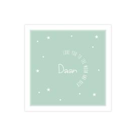 Lief geboortekaartje met sterretjes en confetti groen