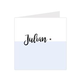 Klassiek geboortekaartje met sterretje lichtblauw