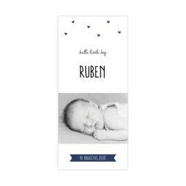 Lief geboortekaartje met eigen foto en hartjes donkerblauw