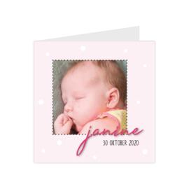 Lief geboortekaartje met eigen foto en confetti roze