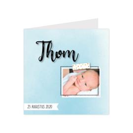 Lief geboortekaartje met eigen foto watercolor effect blauw