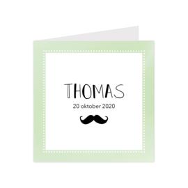 Stoer geboortekaartje groen met snor