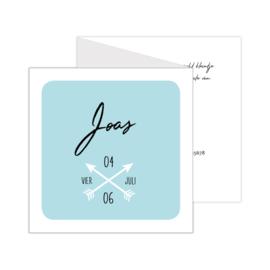 Zigzag geboortekaartje met pijlen oudblauw