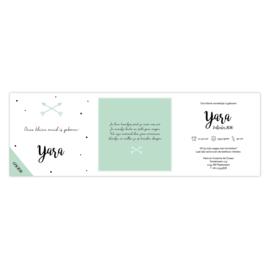 Zigzag geboortekaartje met confetti en pijlen groen