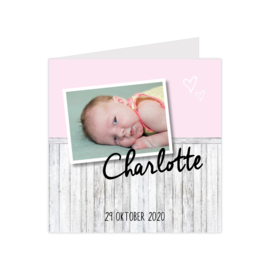 Geboortekaartje met steigerhout en eigen foto roze