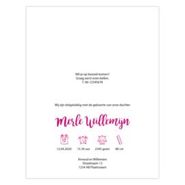 Stoer geboortekaartje roze