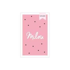 Geboortekaartje met sterretjes roze