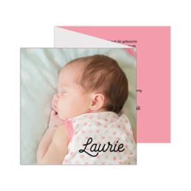 Lief zigzag geboortekaartje met eigen foto roze