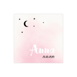 Geboortekaartje watercolor effect roze