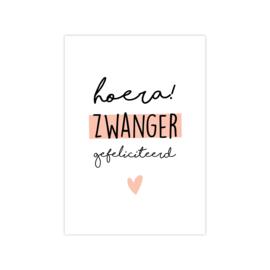 Ansichtkaart 'zwanger' oranje/roze
