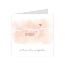 Lief geboortekaartje watercolor oranje/roze met hartje