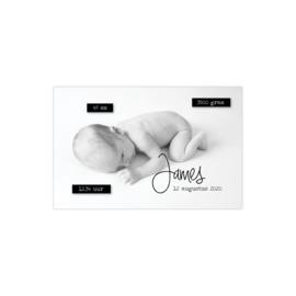 Geboortekaartje met foto en tekst