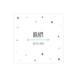 Geboortekaartje grafisch met driehoeken zwart en lichtblauw