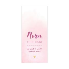 Lief geboortekaartje roze/paars