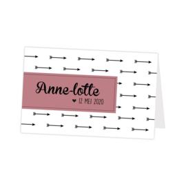 Geboortekaartje oud roze met pijlen