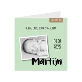 Lief geboortekaartje met eigen foto groen