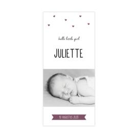 Lief geboortekaartje met eigen foto en hartjes paars