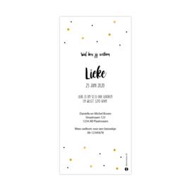 Vrolijk geboortekaartje met gele en zwarte confetti