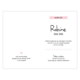 Lief geboortekaartje met confetti en hartjes roze