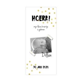 Geboortekaartje gouden confetti met foto