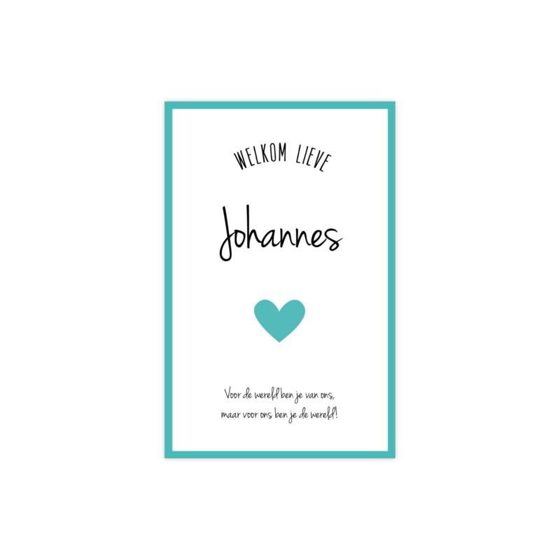 Lief geboortekaartje met hart groen/blauw