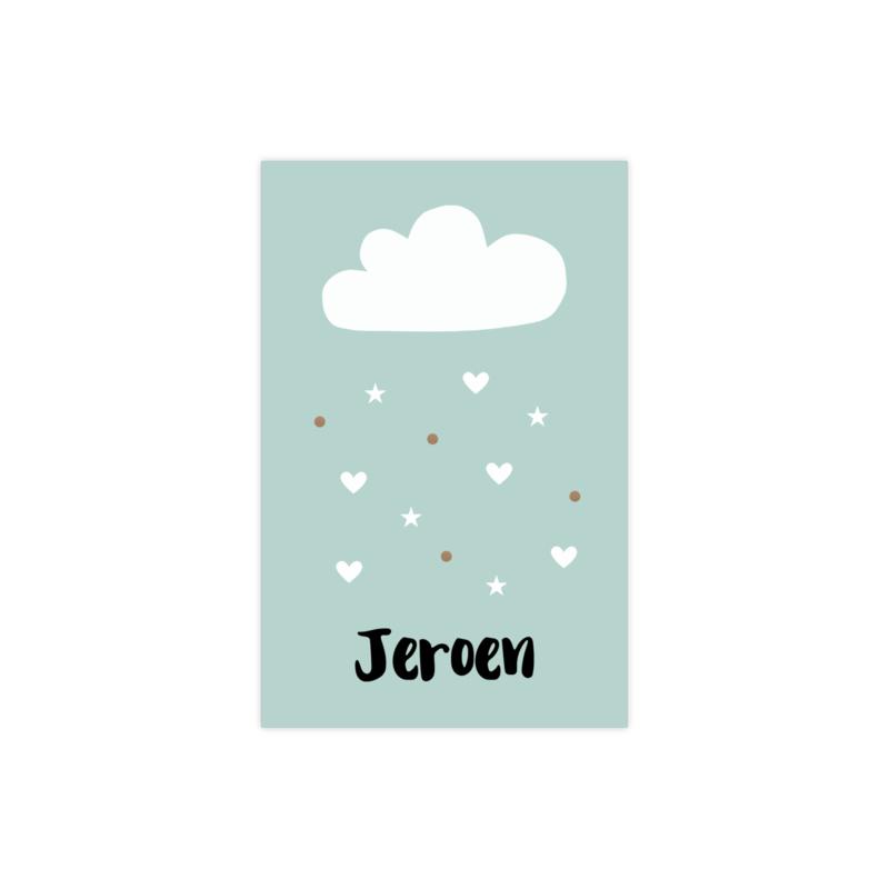 Geboortekaartje met wolk en regen van hartjes en confetti groen