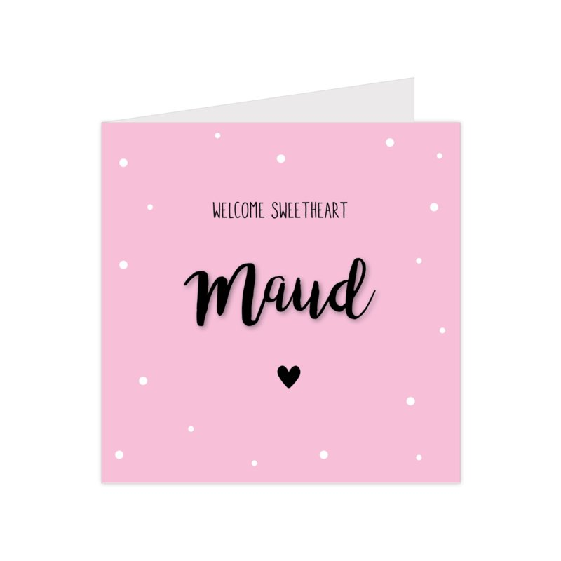 Lief geboortekaartje met confetti en hartje roze