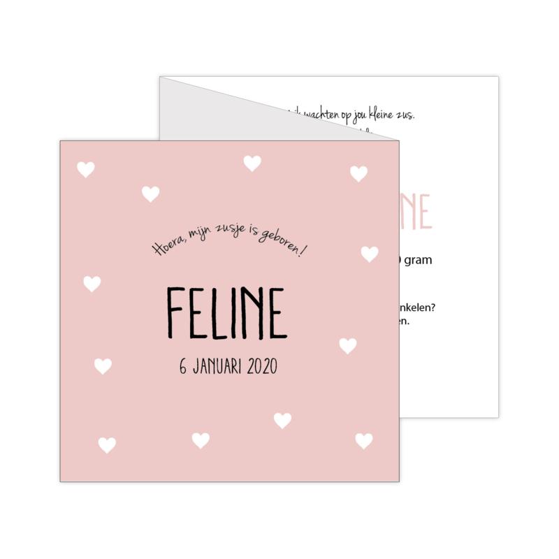 Lief zigzag geboortekaartje met eigen foto en hartjes oranje/roze