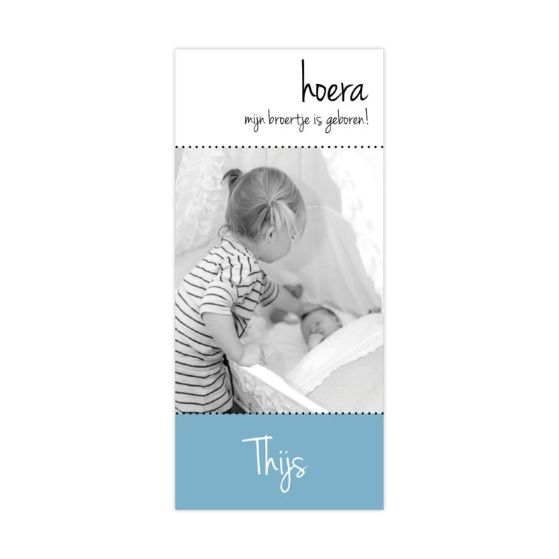 Geboortekaartje met eigen foto oudblauw