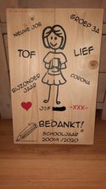 Steigerhoutenbord Juf/Meester  met teksten naar keuze