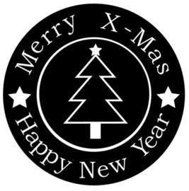 kerststicker Merry X-mas_boom (ook herbruikbaar)
