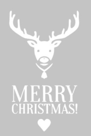 Kerst sticker Merry Christmas Rendier_recht