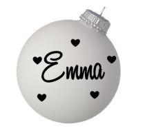 Kerstbal wit met naam