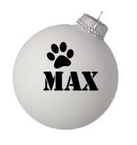 Kerstbal met hondenpootje