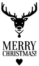 Kerst sticker Merry Christmas Rendier  (ook herbruikbaar)