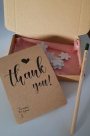 Bloeipotlood & kaart met Bloeiconfetti in een doosje