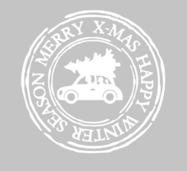 kerststicker stempel auto met kerstboom
