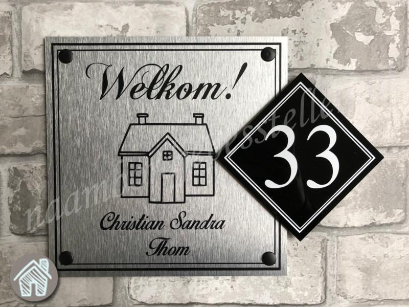 Verwonderlijk naambordje bestellen met welkom en een huisje er op IZ-24
