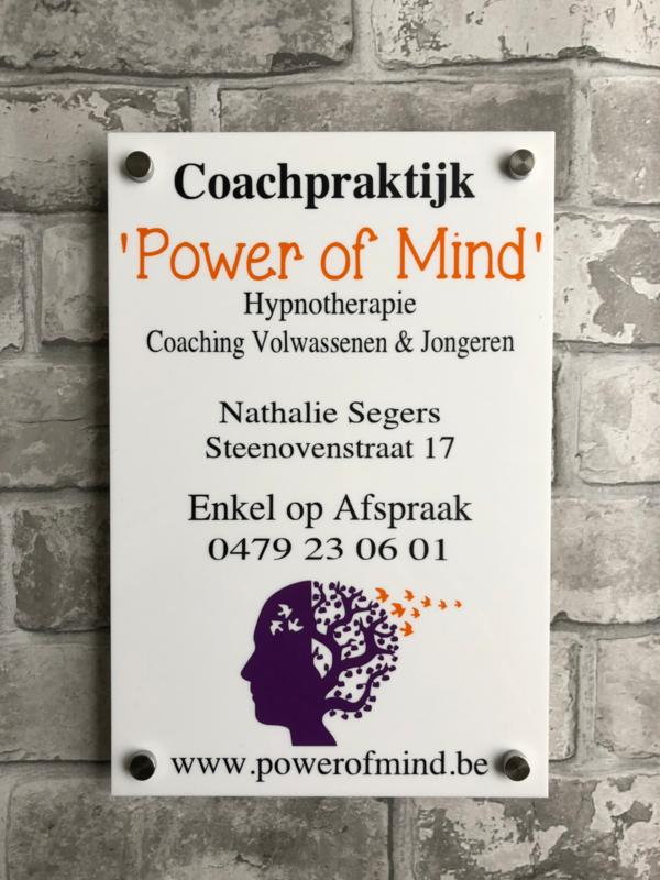 Bedrijfs naambordje Coachpraktijk Power of Mind