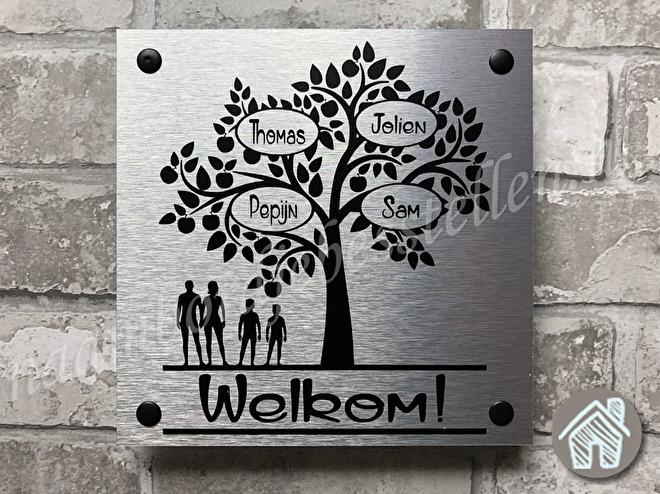 naambordje boom met namen